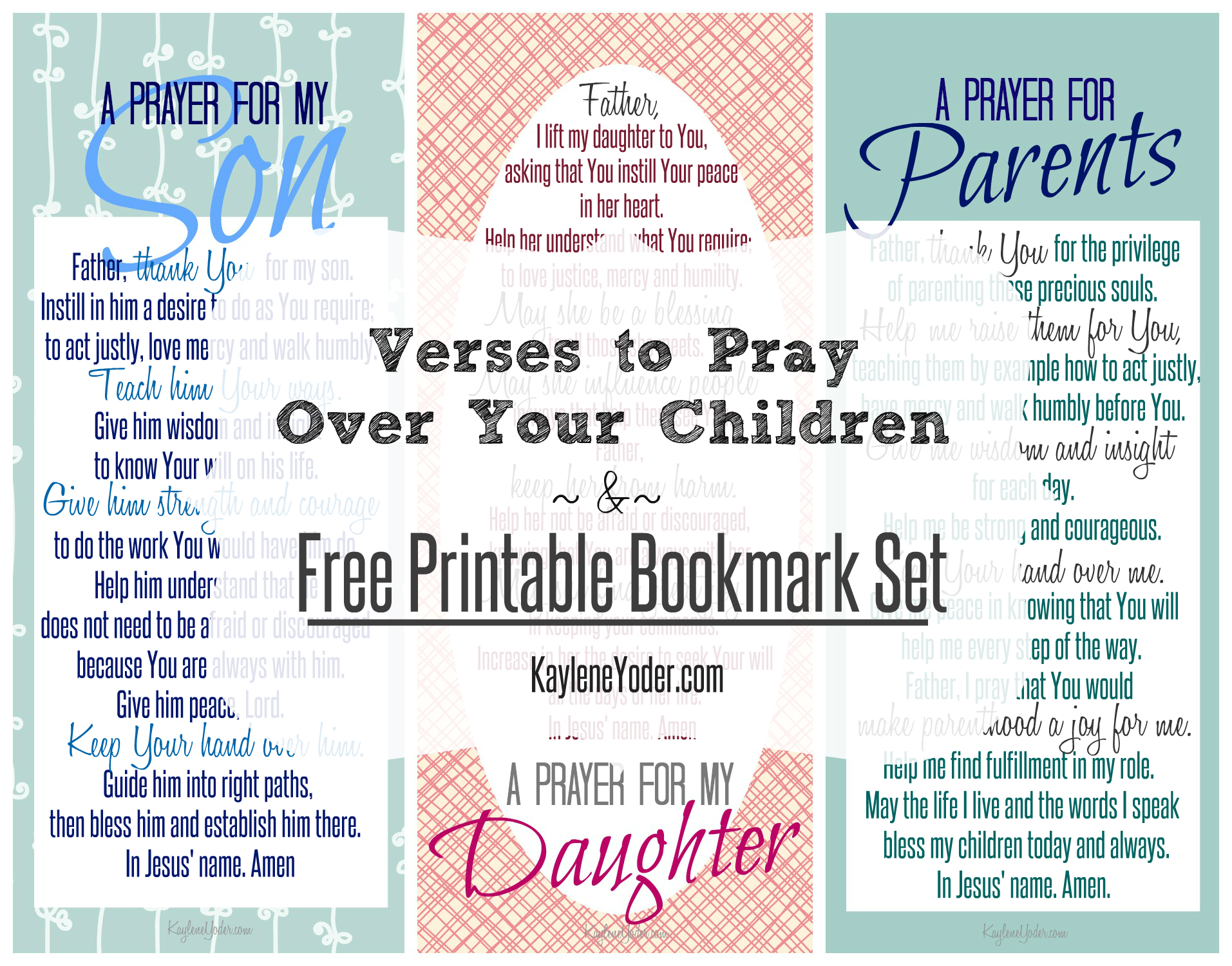 Free printable bookmark set with a prayer for sons, daughters and parents (1)