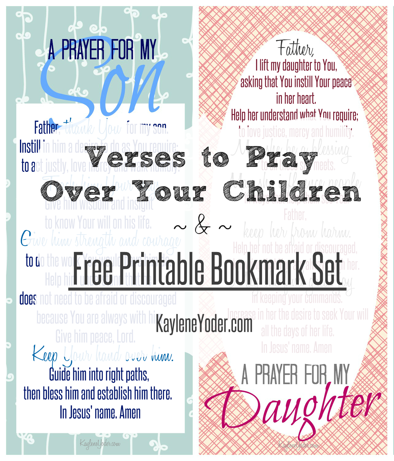 Free printable bookmark set with a prayer for sons, daughters and parents (2)