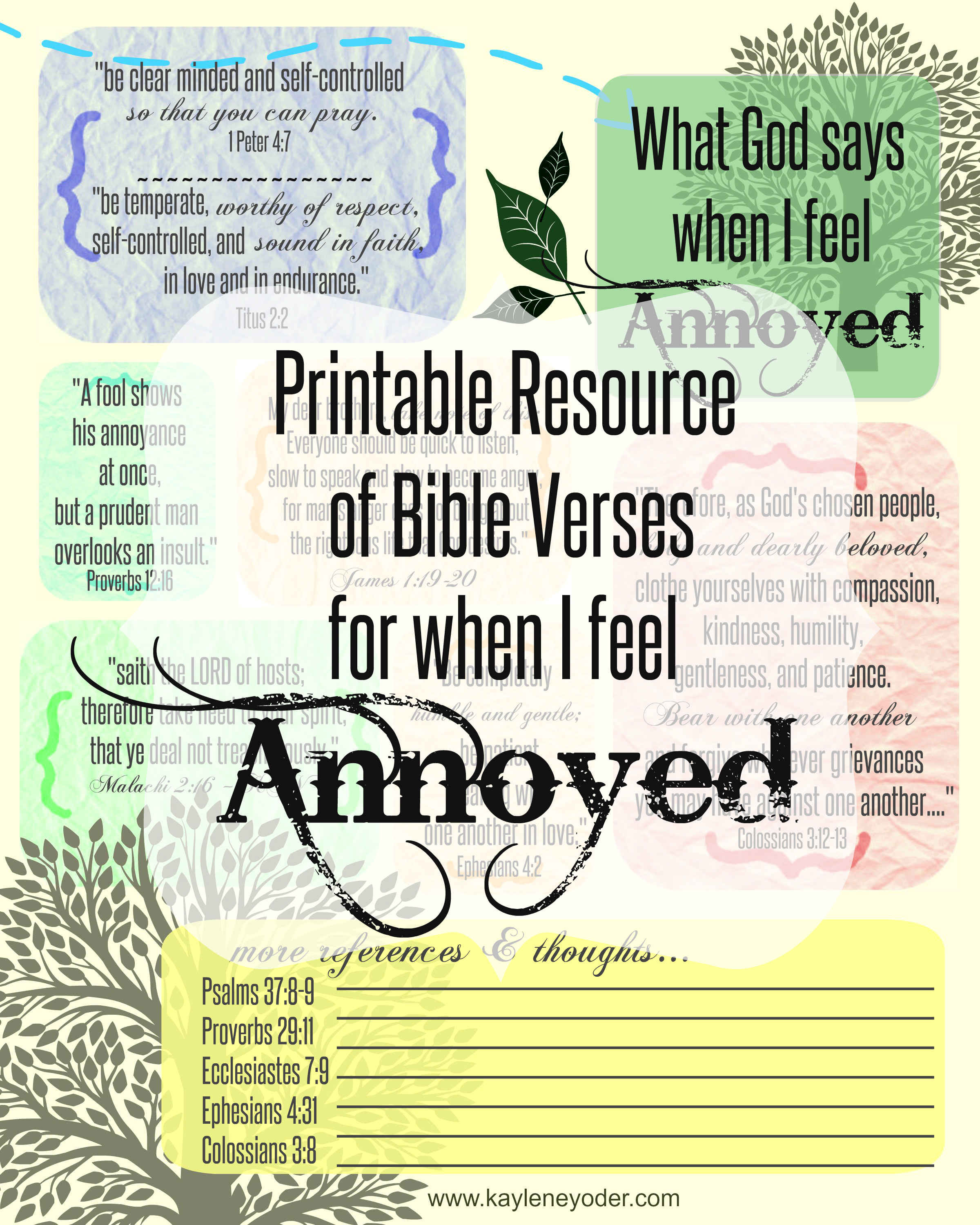 Free Printable resource of Bible verses for when I feel annoyed
