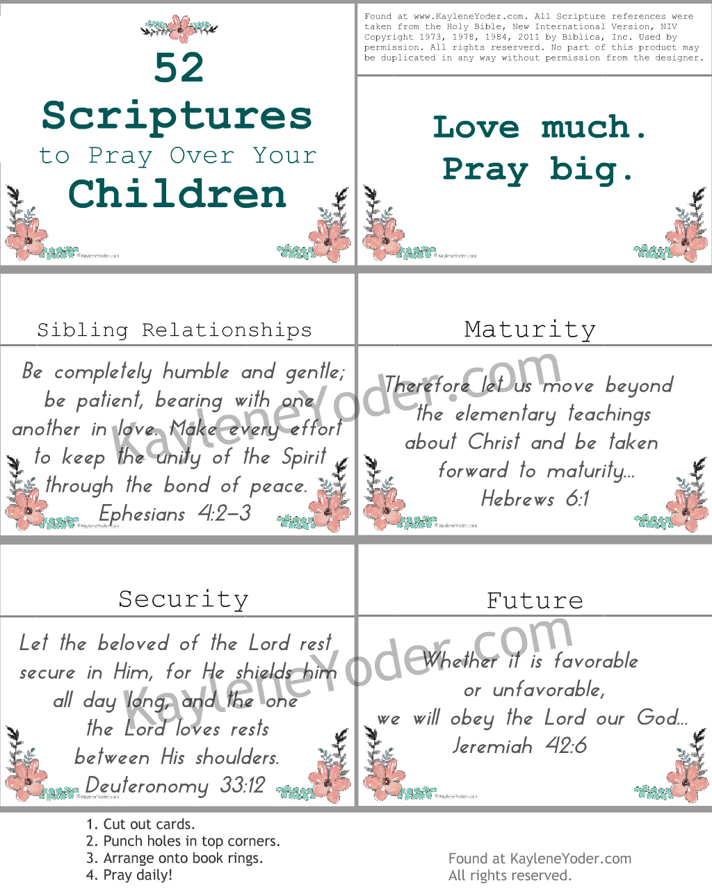 Scripture Prayer Cards to Pray Over Children 9 with LOGO